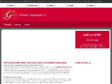 Great Impressions (905-332-5444) - Onglet de site Web - http://greatimpressionssalon.ca