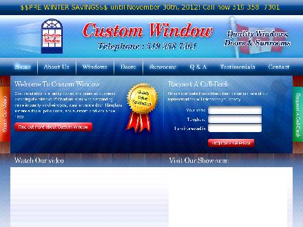 Custom Window (519-358-7301) - Onglet de site Web - http://www.customwindow.on.ca