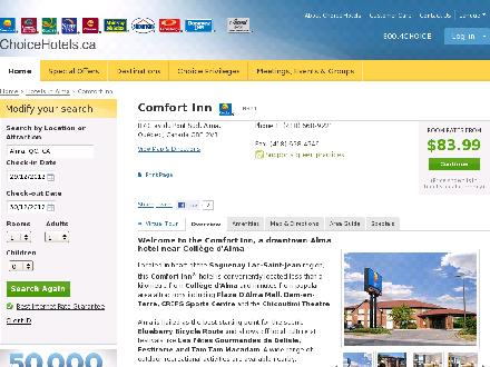 Comfort Inn Alma (418-668-9221) - Website thumbnail - http://www.choicehotels.ca/cn321