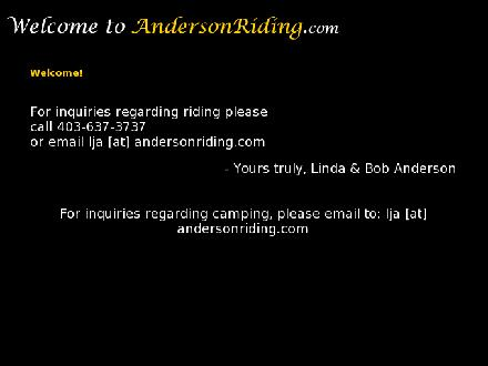 Anderson Valley Ranch Riding & Camping (403-637-3737) - Onglet de site Web - http://www.andersonriding.com