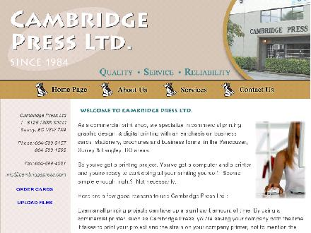 Cambridge Press Ltd (604-599-9157) - Onglet de site Web - http://www.cambridgepress.com