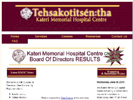 Kateri Memorial Hospital Centre (450-638-3930) - Onglet de site Web - http://www.kmhc.ca