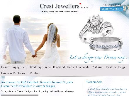 Crest Jewellers Ltd (604-685-8201) - Onglet de site Web - http://www.crestjewellers.com