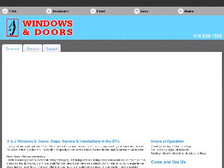 A &amp; J Windows &amp; Doors (647-495-8363) - Onglet de site Web - http://ajwindows.ca/