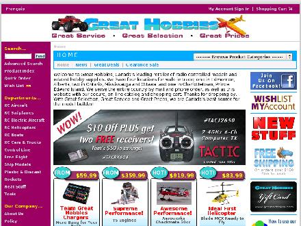 Great Hobbies Inc (289-814-1893) - Website thumbnail - http://www.greathobbies.com