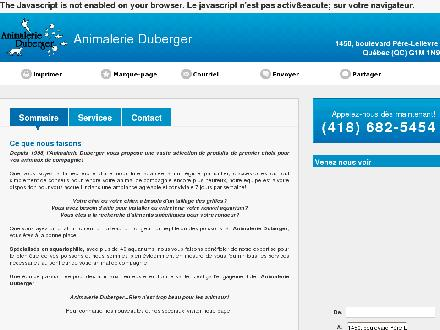 Animalerie Duberger (418-682-5454) - Onglet de site Web - http://animalerieduberger.ca