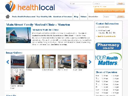 Main St Family Medical Clinic (506-854-8805) - Onglet de site Web - http://www.health-local.com/biz/walk-in-clinics/moncton/new-brunswick/main-street-family-medical-clinic-moncton