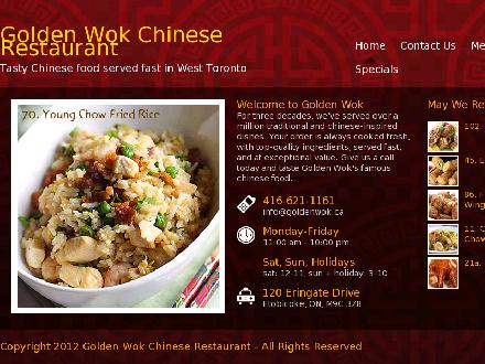 Golden Wok Restaurant (416-621-1161) - Website thumbnail - http://www.goldenwok.ca