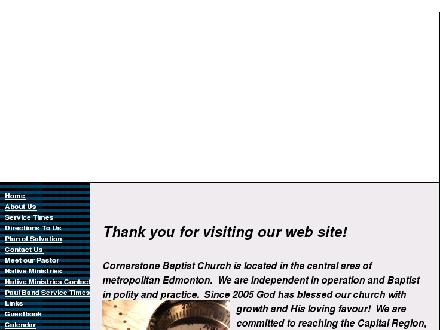 Cornerstone Baptist Church (780-887-7620) - Website thumbnail - http://www.cbcedmonton.org