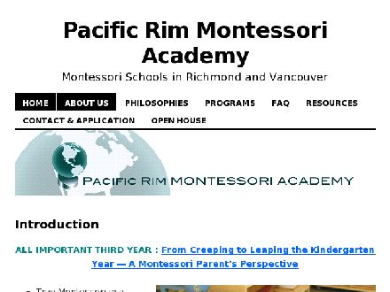 Pacific Rim Montessori Academy (604-726-8428) - Website thumbnail - http://www.pacificrimmontessori.com