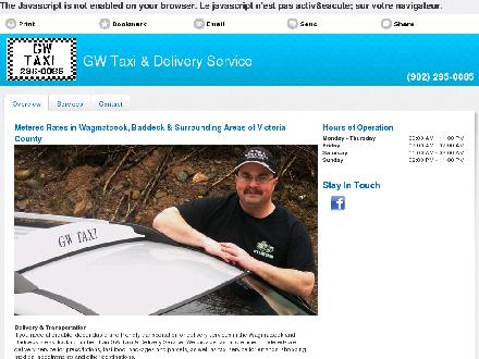 GW Taxi &amp; Delivery Service (902-295-0085) - Onglet de site Web - http://gwtaxi.ca/