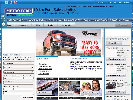 Metro-Ford Sales Ltd (403-263-4530) - Onglet de site Web - http://www.metroford.ca