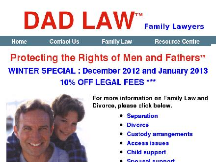 Dad Law-Family Lawyers (416-695-4538) - Onglet de site Web - http://www.dadlaw.ca