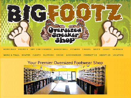 Big Footz Oversized Sneaker Shop (204-415-1009) - Onglet de site Web - http://www.Bigfootz.ca