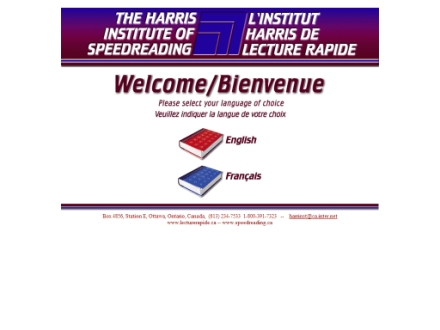 Harris Institute Of Speed Reading (613-234-7533) - Onglet de site Web - http://www.lecturerapide.ca