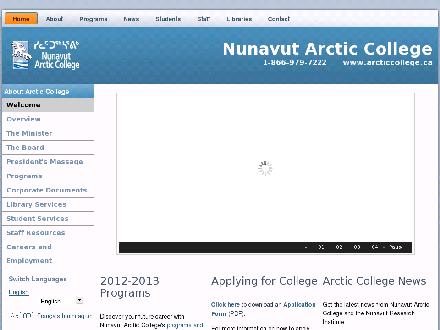 Nunavut Arctic College Head Office (867-857-8600) - Onglet de site Web - http://www.arcticcollege.ca