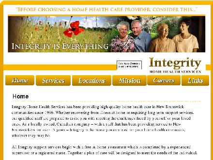 Integrity Home Health Services (506-454-1273) - Onglet de site Web - http://www.integritynb.com