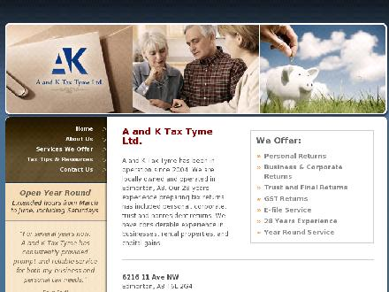 A And K Tax Tyme Ltd (780-488-1890) - Onglet de site Web - http://www.aktaxtyme.com