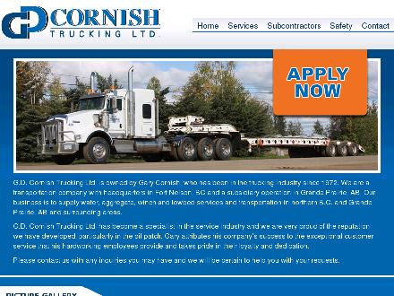 G D Cornish Trucking (250-774-4201) - Website thumbnail - http://www.gdcornish.ca