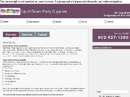 Up Til Dawn Party Supplies (902-527-1280) - Onglet de site Web - http://utdps.com/