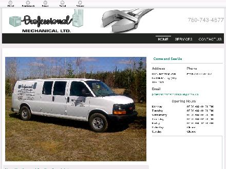 Professional Mechanical Ltd (780-743-4877) - Website thumbnail - http://professionalmechanical.ca