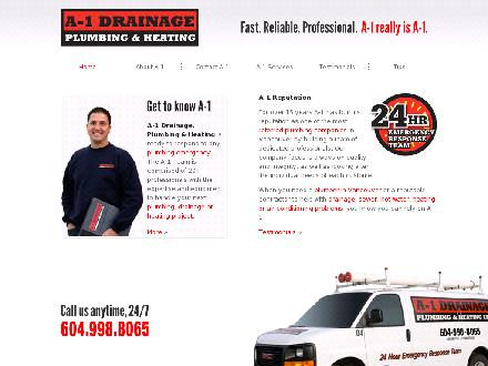 A-1 Drainage Plumbing & Heating Ltd (604-636-2125) - Website thumbnail - http://www.a1drainage.com