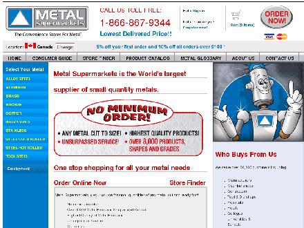 Metal Supermarkets (613-248-1444) - Onglet de site Web - http://www.metalsupermarkets.com