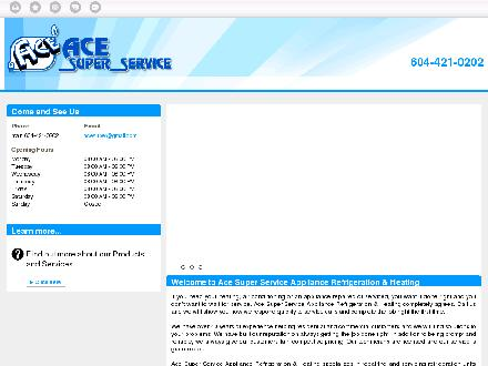 Ace Super Service Appliance Refrigeration & Heating (604-421-0202) - Onglet de site Web - http://acesuperservice.com