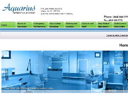 Aquarius Medical Clinic (604-669-7772) - Onglet de site Web - http://www.aquariusmedical.ca