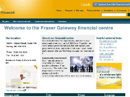 Sun Life Financial (604-588-5232) - Onglet de site Web - http://www.sunlife.ca/surrey