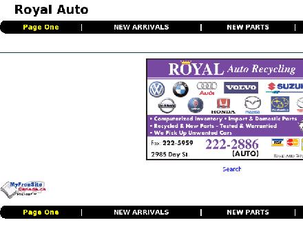 Royal Auto Recycling (204-222-2886) - Onglet de site Web - http://www.royalauto.ca