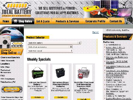 Total Battery (613-225-1888) - Onglet de site Web - http://www.totalbattery.com/