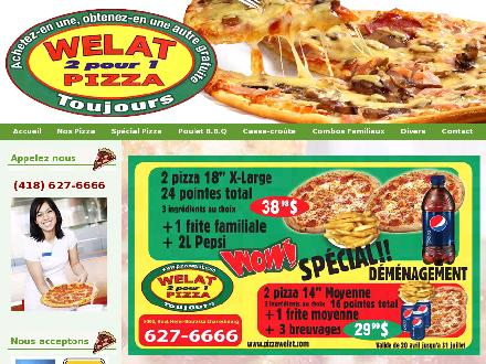 Pizza Welat (418-627-6666) - Onglet de site Web - http://www.pizzawelat.com