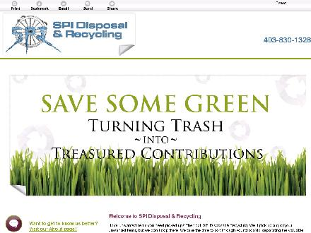 SPI Disposal & Recycling (403-830-1328) - Onglet de site Web - http://spidisposalcalgary.ca