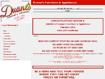 Duane's Furniture & Appliances (506-328-9297) - Onglet de site Web - http://www.duanesfurnitureandappliances.com
