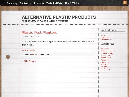 Alternative Plastic Products Manufacturing Inc (403-329-1713) - Onglet de site Web - http://www.altplastic.com