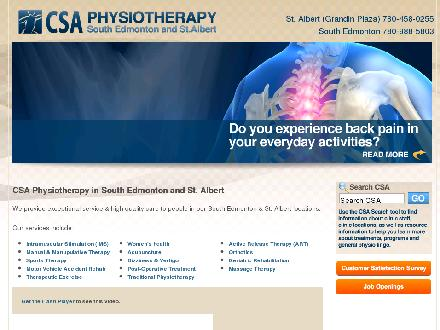 CSA Physiotherapy South Edmonton (780-988-5803) - Website thumbnail - http://www.csaphysio.ca