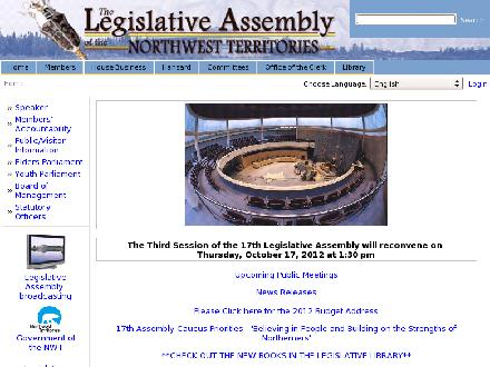 Legislative Assembly (669-2226) - Onglet de site Web - http://www.assembly.gov.nt.ca