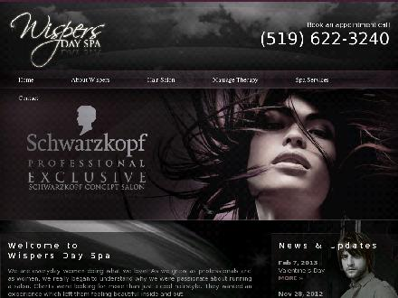 Wispers Inc (519-622-3240) - Onglet de site Web - http://www.wispersdayspa.ca