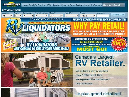 Leisuredays (705-805-0293) - Website thumbnail - http://www.leisuredays.ca