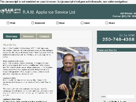 R A M Appliance Service Ltd (250-748-4368) - Onglet de site Web - http://www.ramappliancecentre.ca
