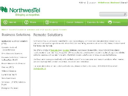 Northwestel (1-888-423-2333) - Website thumbnail - http://www.nwtel.ca/Industry