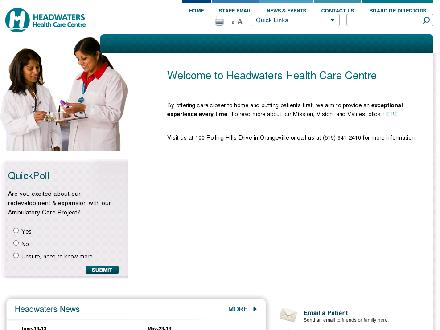 Headwaters Health Care CentreOrangeville (519-941-2410) - Website thumbnail - http://www.headwatershealth.ca