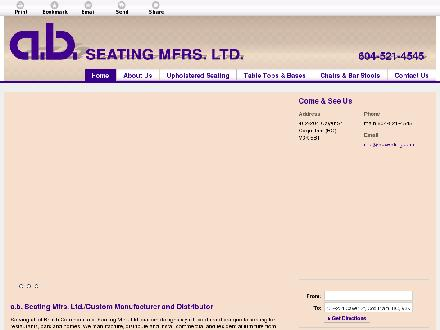 A B Seating Mfrs Ltd (604-521-4545) - Onglet de site Web - http://abseating.com