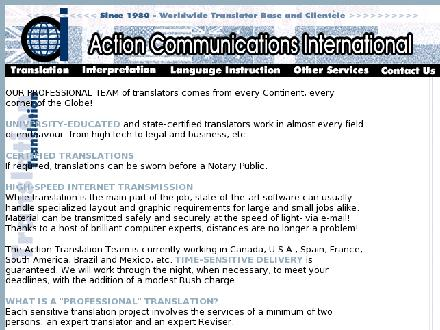 Action Communications International (403-283-9014) - Onglet de site Web - http://www.actionlanguages.com