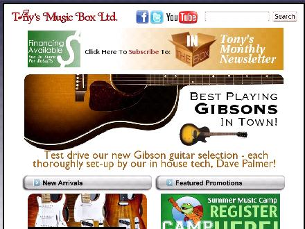 Tony's Music Box Ltd (506-458-8286) - Website thumbnail - http://www.tonysmusicbox.ca