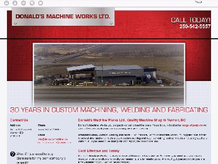 Donald's Machine Works Ltd (250-542-5557) - Onglet de site Web - http://donaldsmachine.ca/