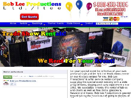 Bob Lee Productions Ltd (506-859-7884) - Onglet de site Web - http://www.bobleeproductions.com