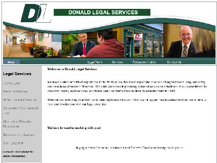 Donald Legal Services (204-729-4900) - Onglet de site Web - http://www.donaldlegal.com