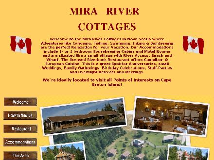 Mira River Cottages & Riverbank Restaurant (902-727-2012) - Onglet de site Web - http://www.mirarivercottages.ca